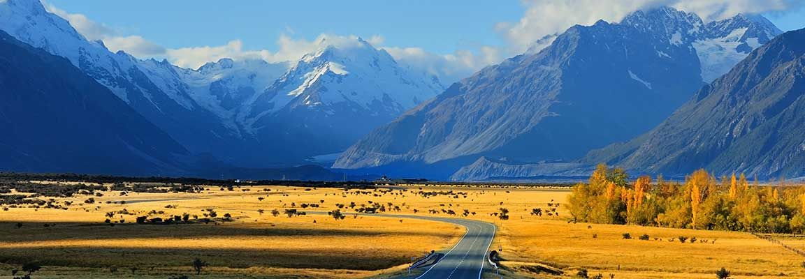 Road to Mount Cook in New Zealand's South Island