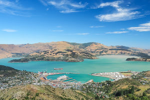 View over Lyttleton Port from the Christchurch Gondola