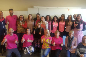 New Zealand Fine Touring staff on Pink Shirt Day 2017