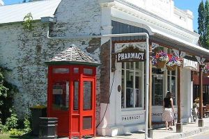 Old shops and phone box in Coromandel town