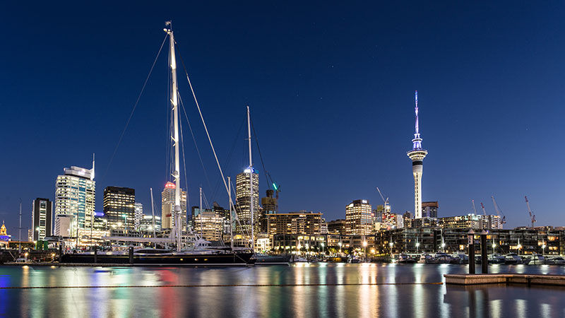 Auckland at night, New Zealand