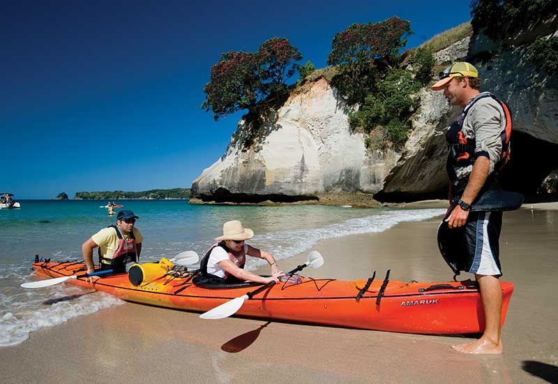 Kayaking to Cathedral Cove
