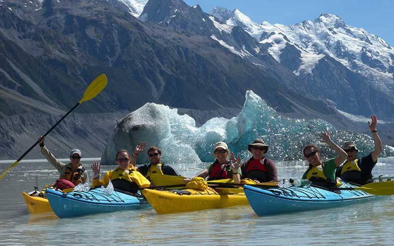 Glacier sea kayaking, Mt Cook National Park