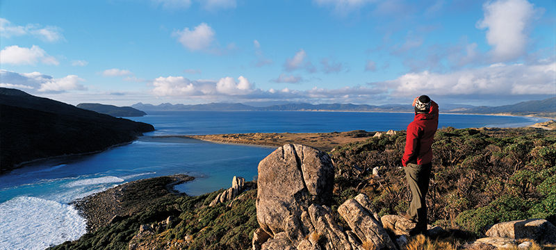 Scenic view over the ocean from Stewart Island