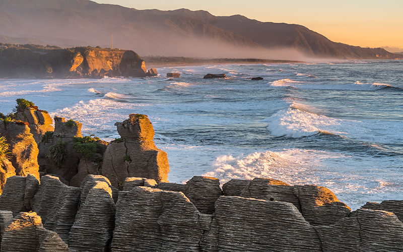 Sunset at the Pancake Rocks, Punakaiki