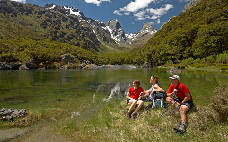 Taking a break at Lake Mackenzie on the Routeburn Track