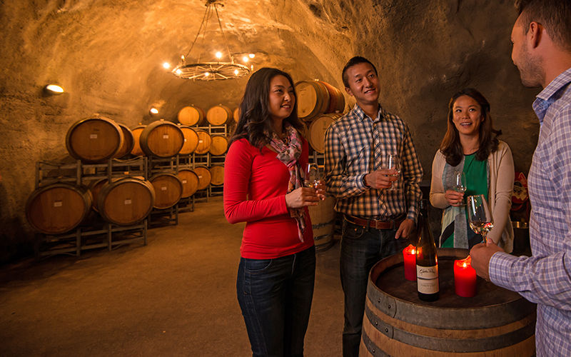 Wine tasting in the Gibbston Valley wine cave