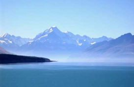 View over Lake Pukaki up to Mt Cook
