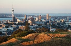 View over the city of Auckland from Mt Eden