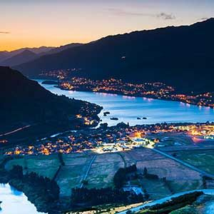 View over queenstown at dusk