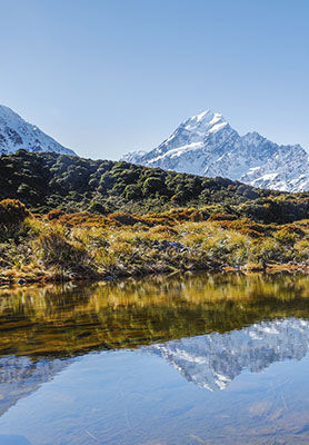 View across a lake to Mount Cook