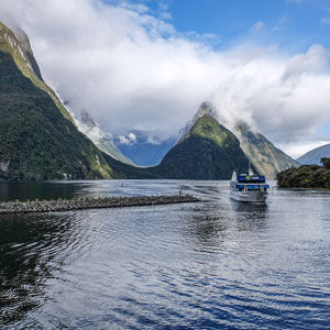 Cruise boat comes into Milford Sound Harbour