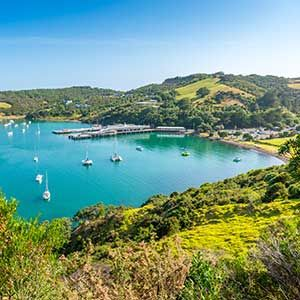 View over boats to Waiheke Island