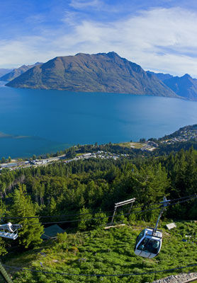 View over the lake from the Queenstown Gondola