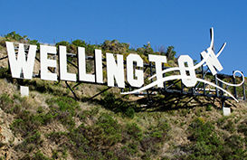 The famous windy Wellington sign