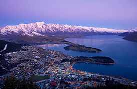 A view of Queenstown from the air at dusk