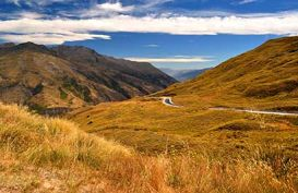 The Crown Range from Wanaka to Queenstown, New Zealand