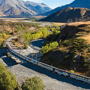 Travel across the South Island on board the TranzAlpine scenic train