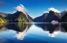 A view of Milford Sound with Mitre Peak in the background