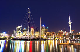 A view of Auckland City from the Waterfront by night