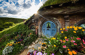 A hobbits house with a blue door in the Hobbiton Movie Set