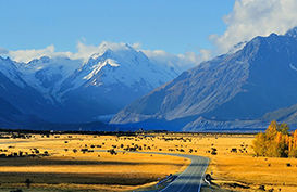 The road to Mount Cook with Mount Cook in the backgrounf