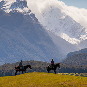 Riders enjoying the view of the South Island's mountains