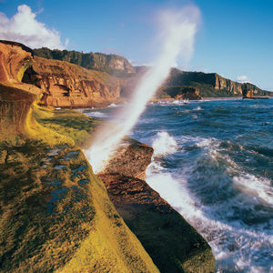 Blow hole at Punakaiki on South Island's West Coast