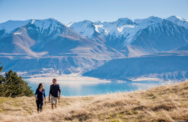 Couple enjoying a walk in Mt Cook National Park