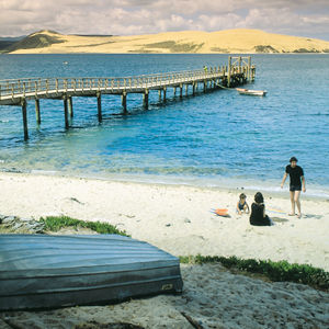 Hokianga harbour with sand dunes in background