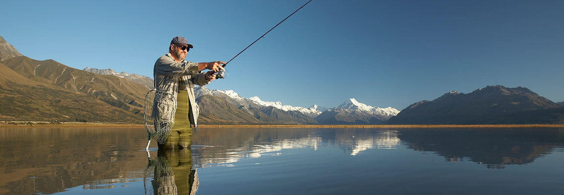 Fishing for trout near Mt Cook National Park