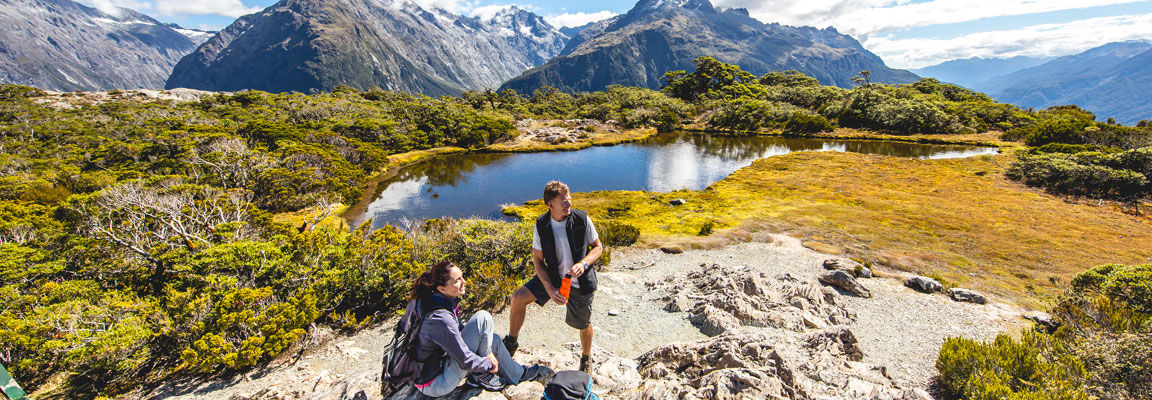 Taking a rest overlooking New Zealand's mountain scenery